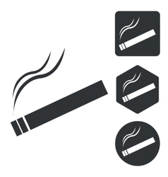 Smoking icon set monochrome vector