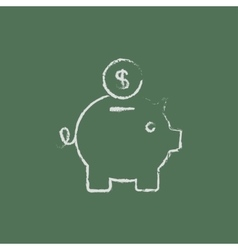 Piggy bank and dollar coin icon drawn in chalk vector