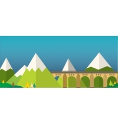 Mountain bridge landscape vector