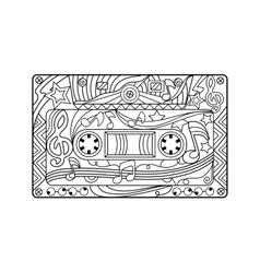 Audio cassette coloring book for adults vector