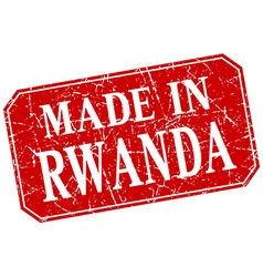 Made in rwanda red square grunge stamp vector