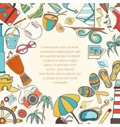 Summer doodle invitation card vector