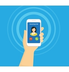 Incoming call on smartphone screen flat vector