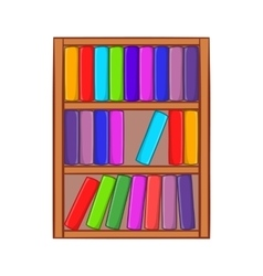 Shelf of books icon cartoon style vector