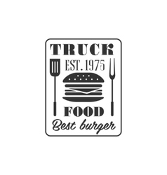 Burger truck label design vector