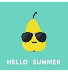 Big yellow pear fruit wearing sunglasses cute vector