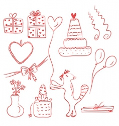 birthday holiday doodle red set vector image