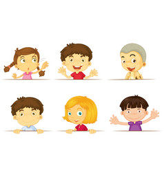 boys and girls with happy faces vector image vector image