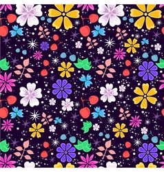 Bright and funny seamless floral pattern on dark vector