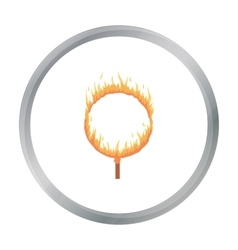 Burning hoop icon in cartoon style isolated on vector