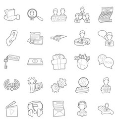 Business sphere icons set outline style vector