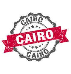 Cairo round ribbon seal vector