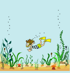 cartoon seabed with seaweeds vector image
