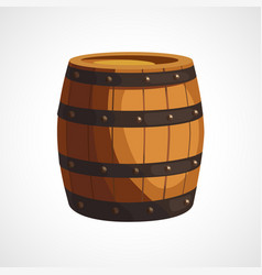 cartoon wooden barrel vector image