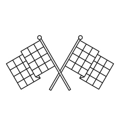 Chequered flags icon outline style vector image vector image
