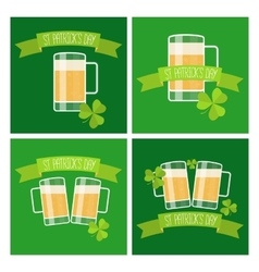 Collection of Happy St Patricks day green cards vector image vector image