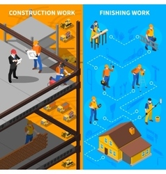 Construction workers isometric banners set vector