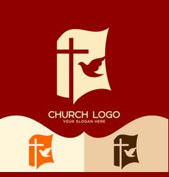 cross of jesus open bible and pigeon vector image