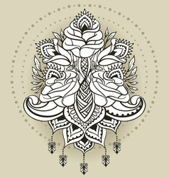 Freehand drawing of roses in east style vector