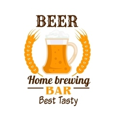 Frothy beer mug emblem with wheat ears vector image vector image