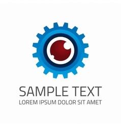 Gear eye logo template vector image