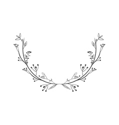 Gray scale decorative simple half crown floral vector