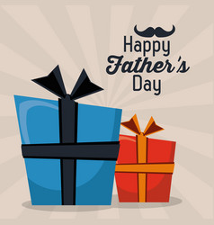 Happy fathers day greeting card gift boxes vector