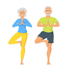 Happy senior man and woman doing yoga vector