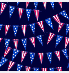 Ink hand drawn seamless pattern with flag garland vector