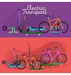 isolated electric scooter one and two-wheeled vector image