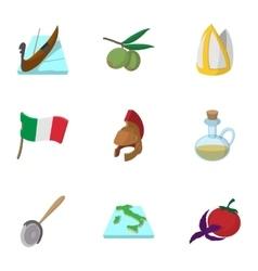 Italy icons set cartoon style vector