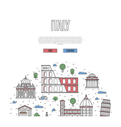italy travel tour poster in linear style vector image vector image