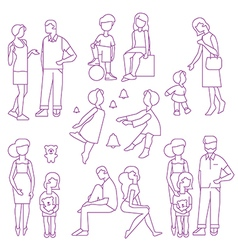 Large happy family vector