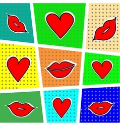 Lips and heart on a bright background vector image vector image