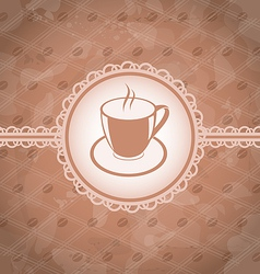 Old grunge background with coffee label - cup vector image