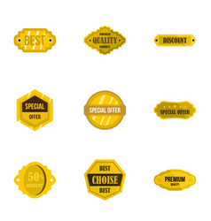 Premium quality retro label icons set flat style vector