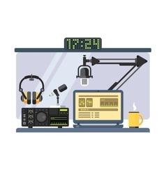 Professional radio station studio vector image