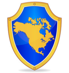 Shield with silhouette of north america vector