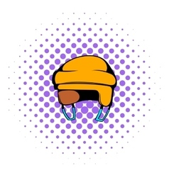 Yellow hockey helmet icon comics style vector