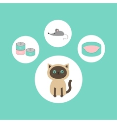 Siamese cat round circle icon set in shape of paw vector