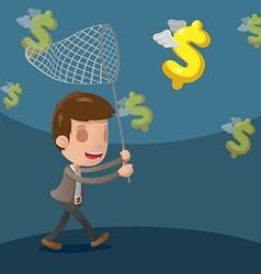 Business man catch dollar currency vector