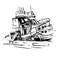Black and white ink sketch drawing of boat in vector