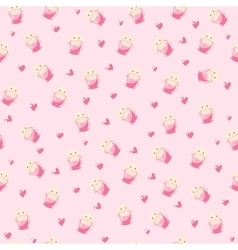 cute rabbit in teacup and hearts vector image
