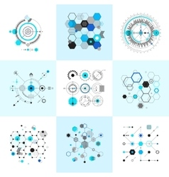 Honeycomb and circular bauhaus abstract geometric vector image