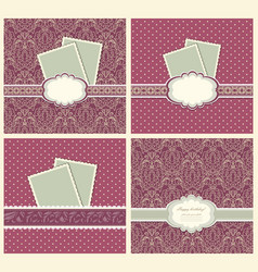 Set of vintage colorful scrap booking template vector