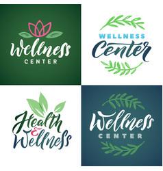 wellness center logo set green leaves vector image
