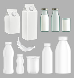 Realistic creative milk packaging design vector