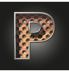 Old metal letter p vector