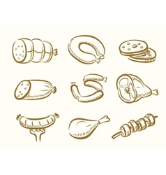 hand drawn Meat vector image