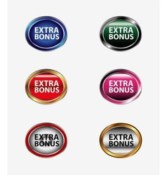 Extra bonus button set vector